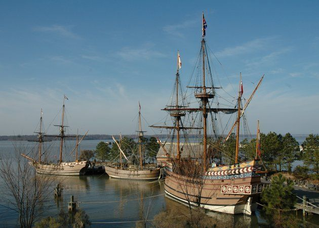 In colonial Williamsburg, you can see the ships in which the first settlers arrived in Jamestown