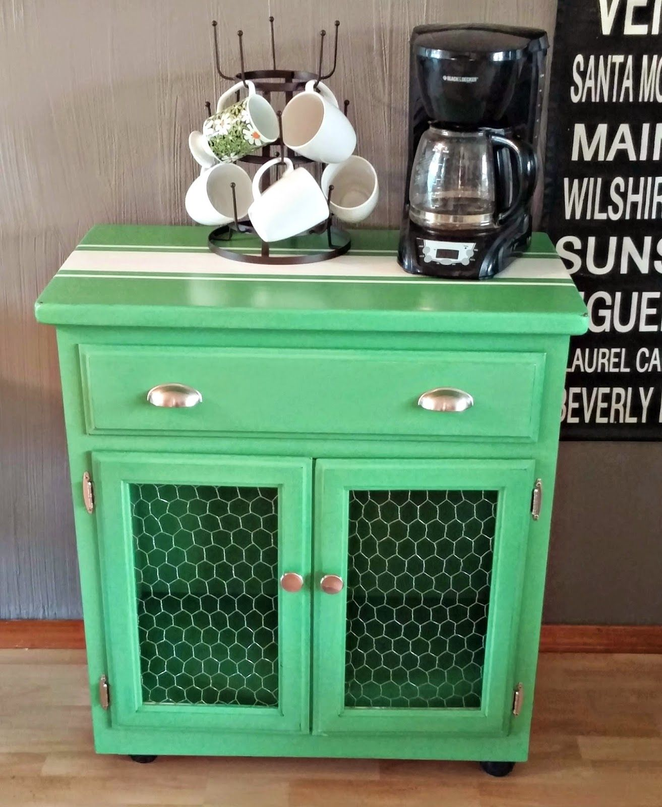 Little Vintage Cottage Microwave Cart Redo More