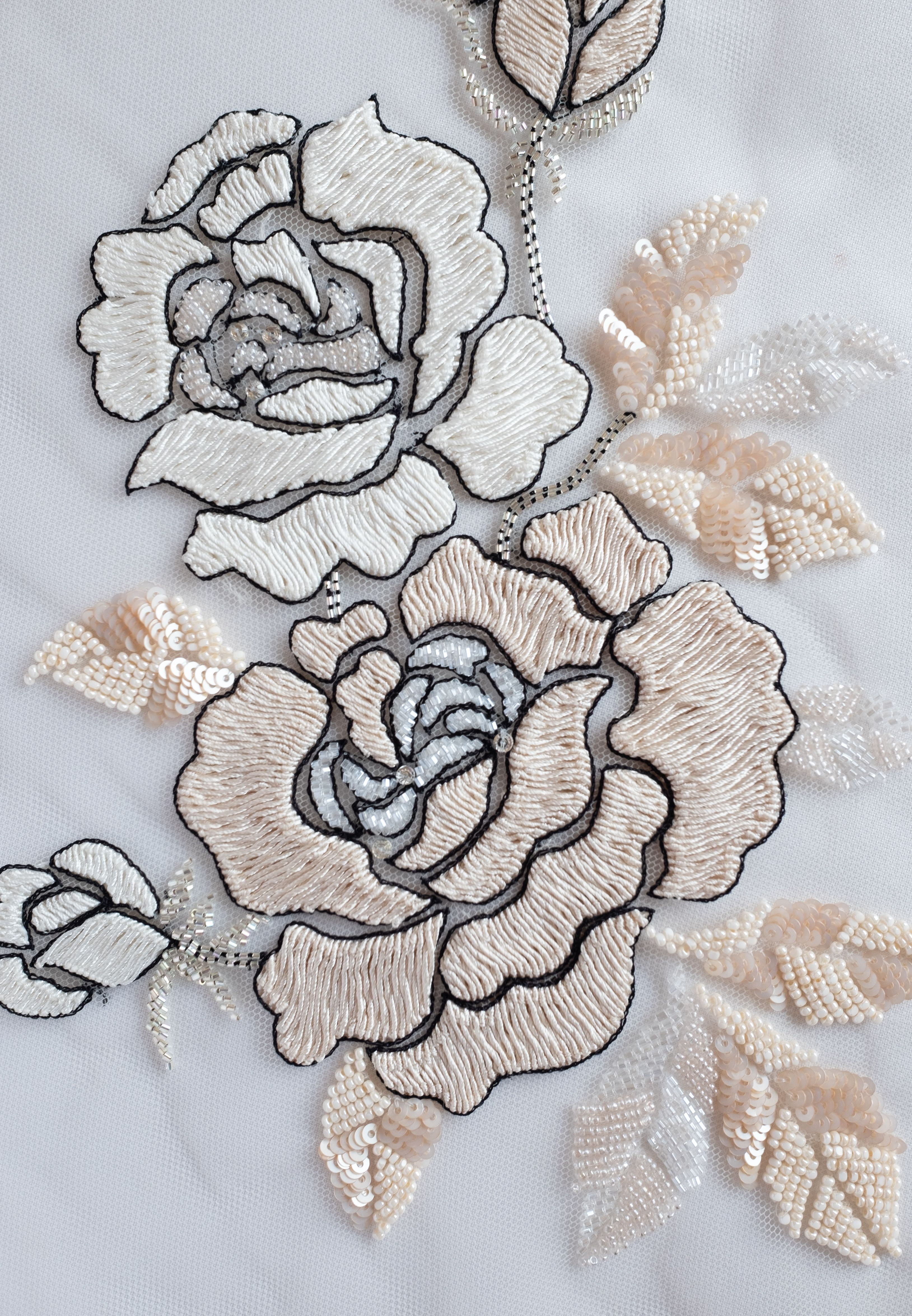 *IRON ON* 2 Styles Embroidered Applique//Motif Floral Flower Indian dress cushion
