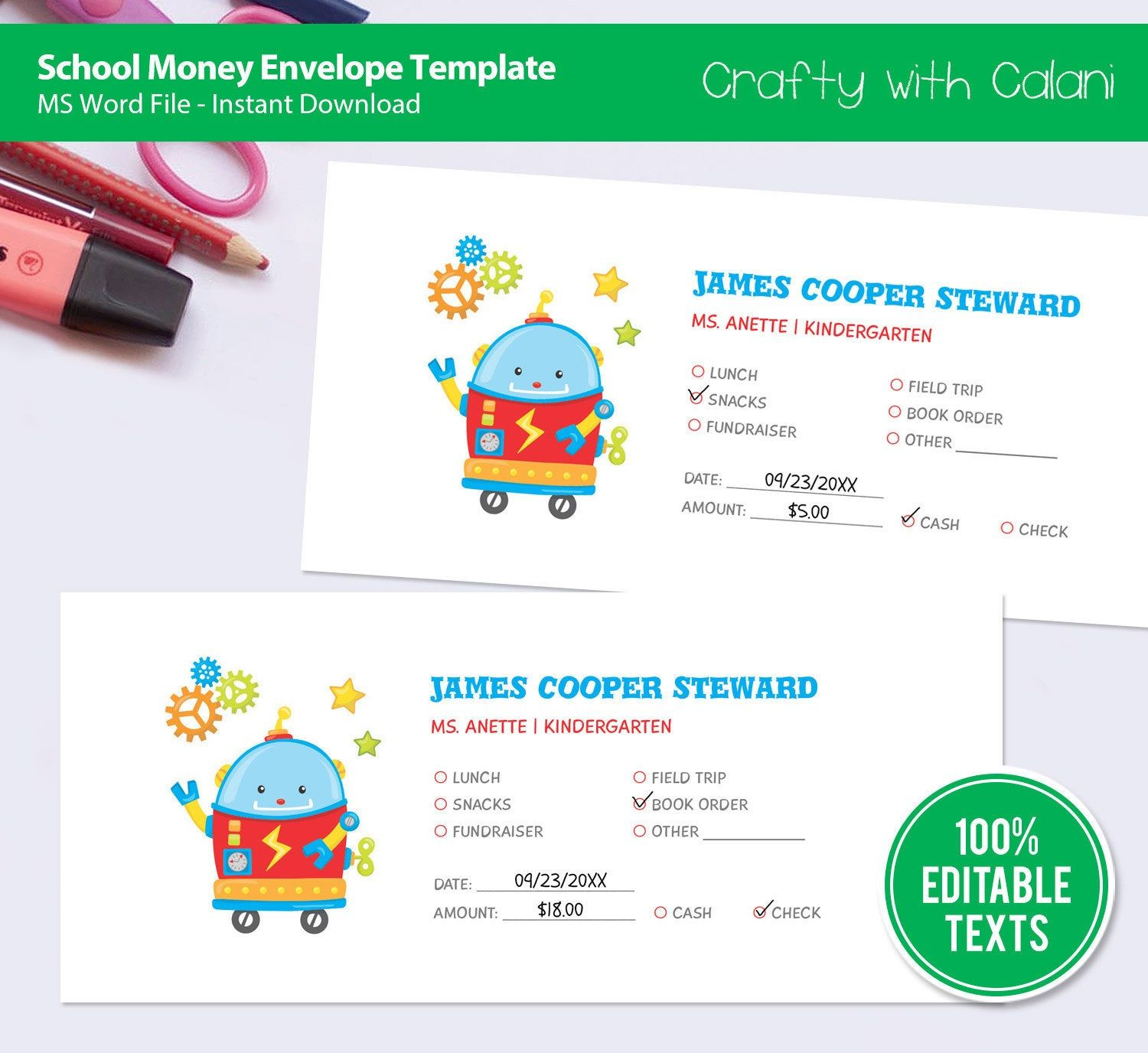 School Money Envelope Template, Custom School Money