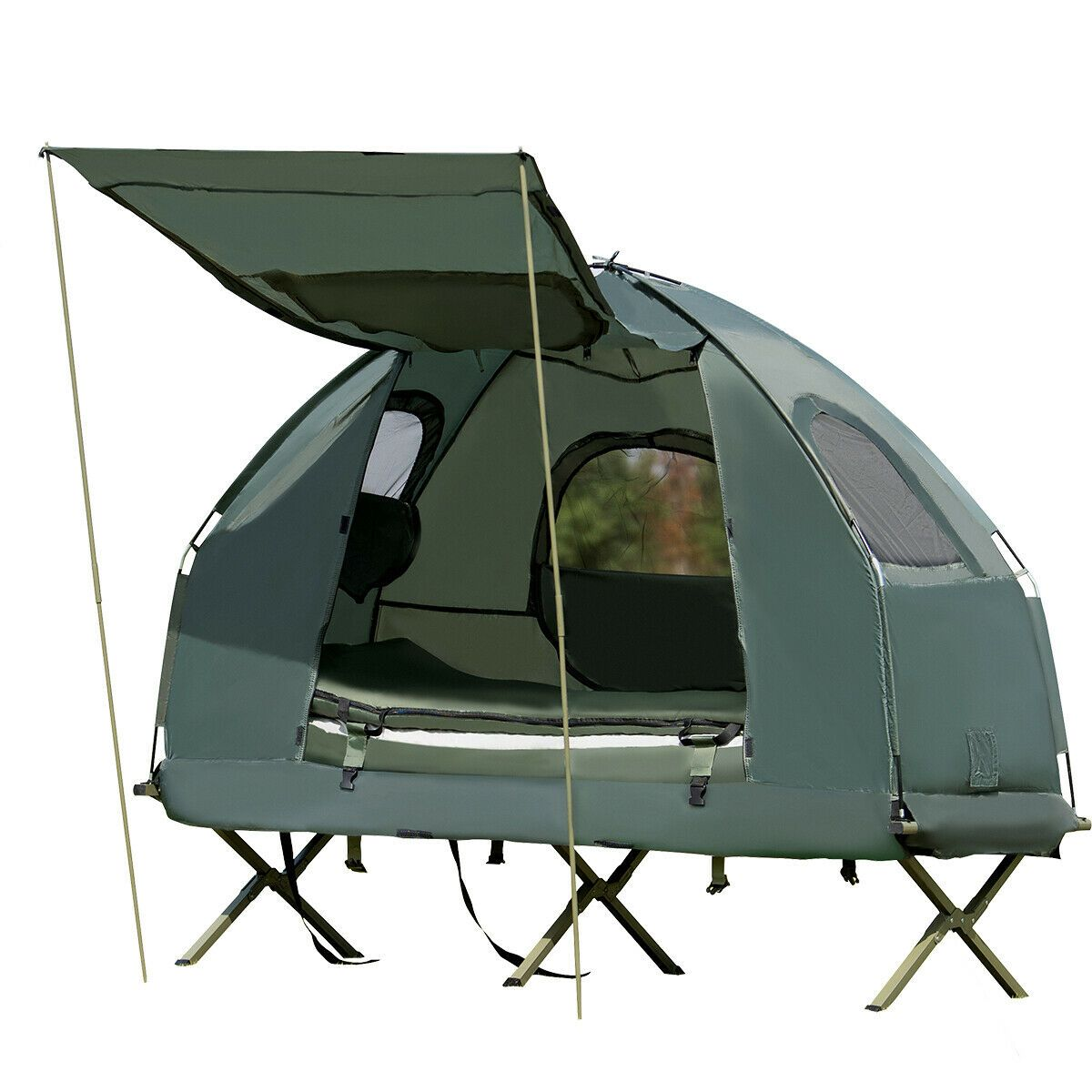 1 Person Compact Portable Pop Up Tent Camping Cot W Air Mattress Cool Tents Tent Cot Camping Bed