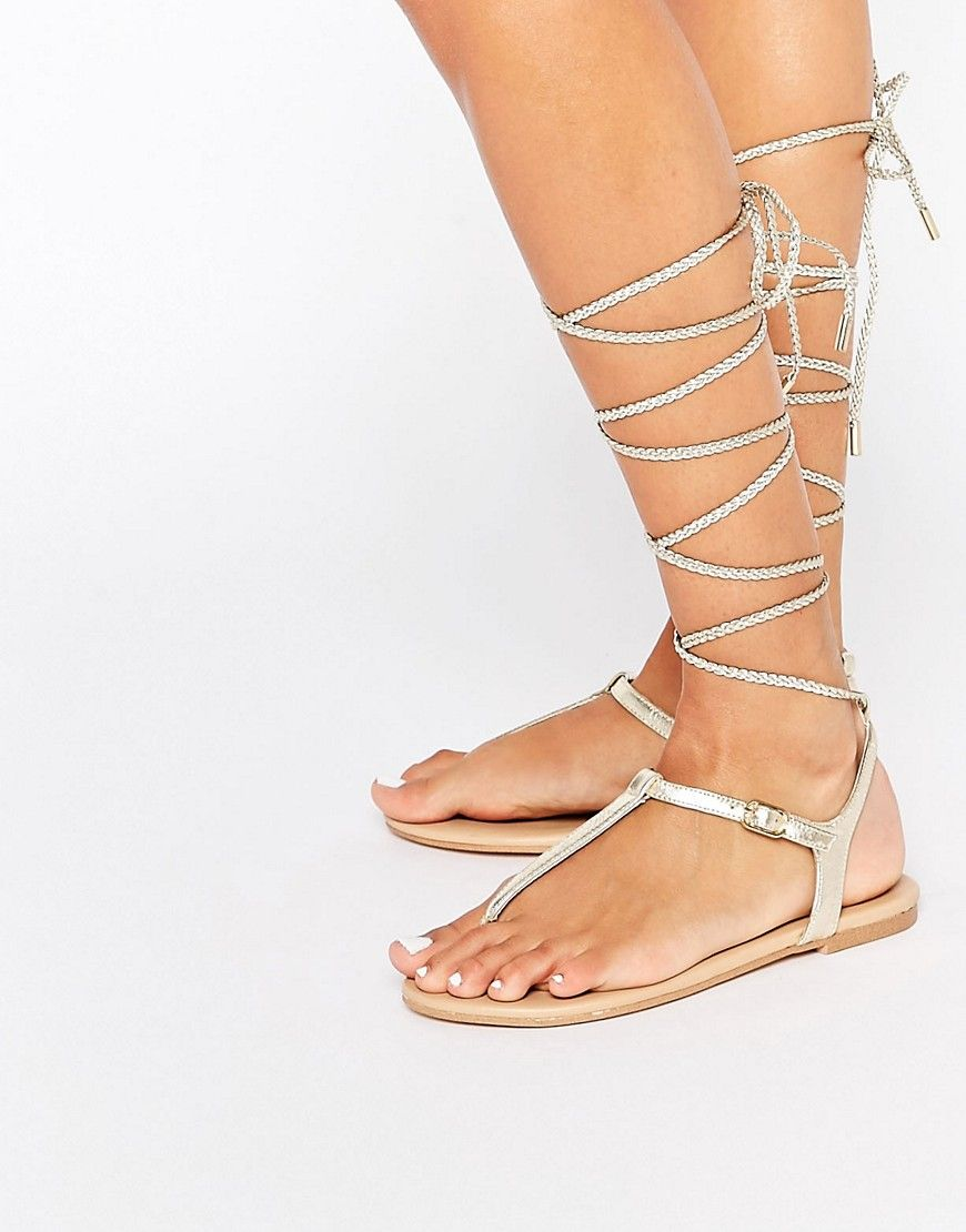 Image 1 - ALDO Peplow Gold Ghillie Tie Leather Flat Sandal