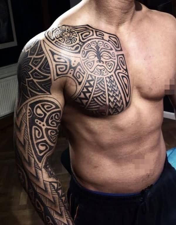 African Tribal Chest Tattoos