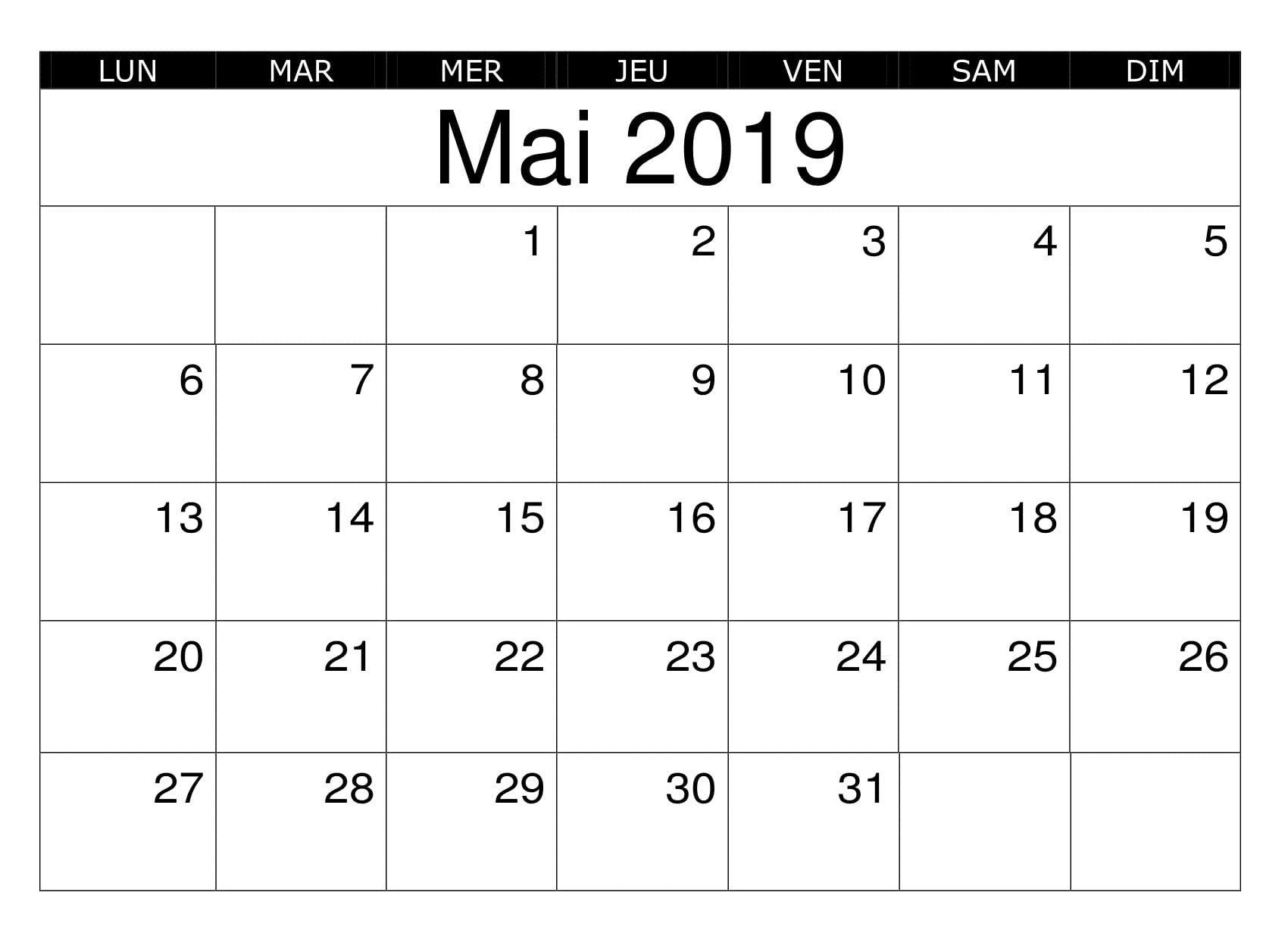 Calendrier Mai Pdf Editable 2019 Calendar Printables 2019