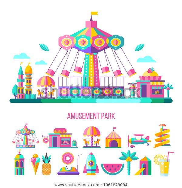 Amusement Park Theme Park Water Park Stock Vector (Royalty