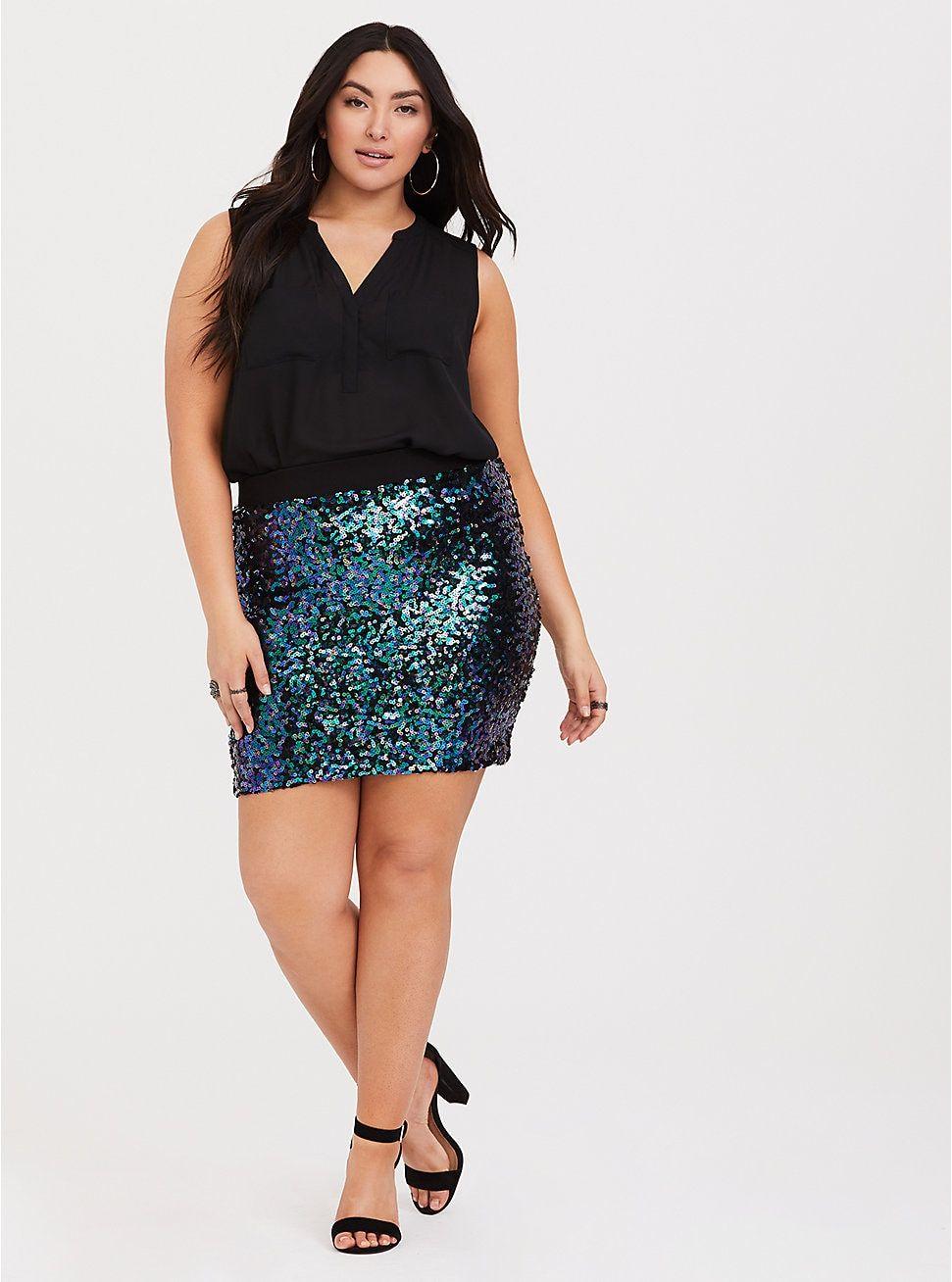942b33adf9b8e1 Multi Sequin Mini Skirt, Sequin Mini Skirts, Plus Size Girls, Plus Size  Women