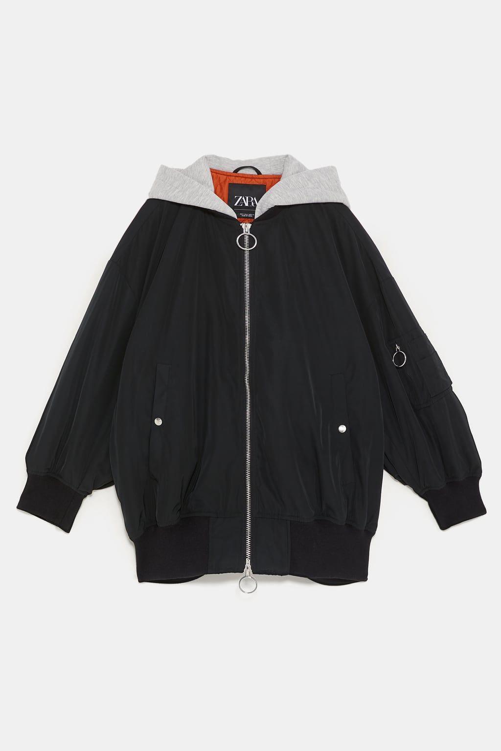 Image 9 Of Bomber Jacket With Contrast Hood From Zara Tuch Bekleidungsstile Bequeme Klamotten [ 1536 x 1024 Pixel ]