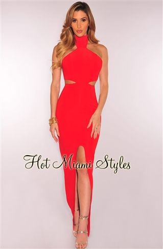 b5ac725235 Red Cut Out Curved Slit Maxi Dress Womens clothing clothes hot miami styles  hotmiamistyles hotmiamistyles.com sexy club wear evening clubwear cocktail  party ...