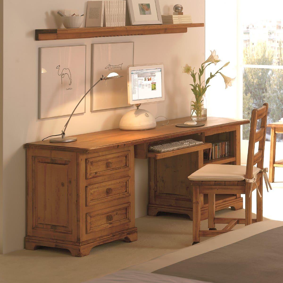con nuestro escritorio rstico de madera con cajones y estantes podrs tener tu