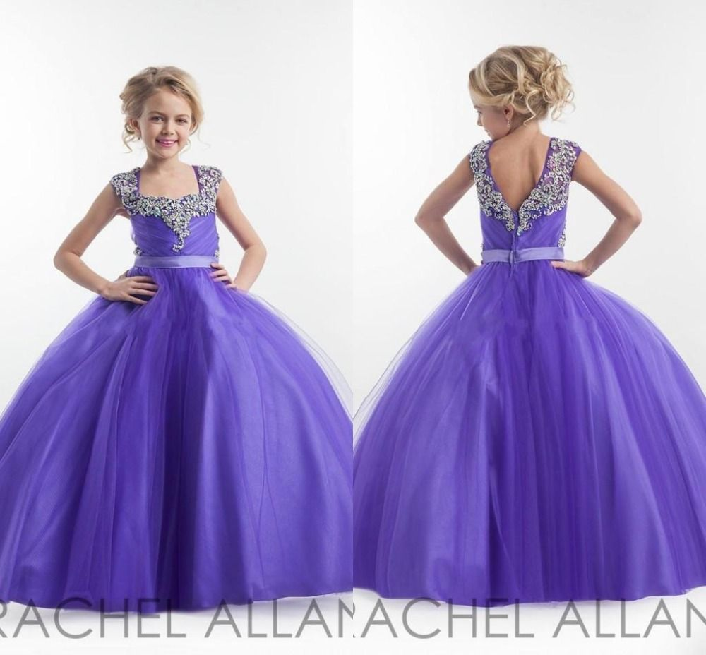 Blumenmädchen Lila Prom Kleid Kinder Festzug Ballkleider für Mädchen ...