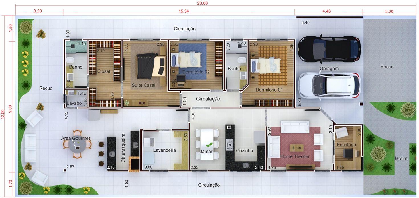 Planta de casa t rrea com escrit rio planta para terreno for Casa moderna 140 m2