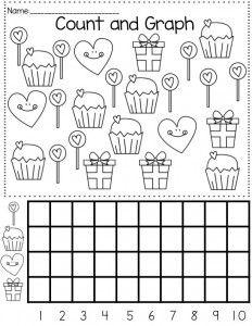 Valentine's Day graph | daycare | Kindergarten math, Kindergarten ...