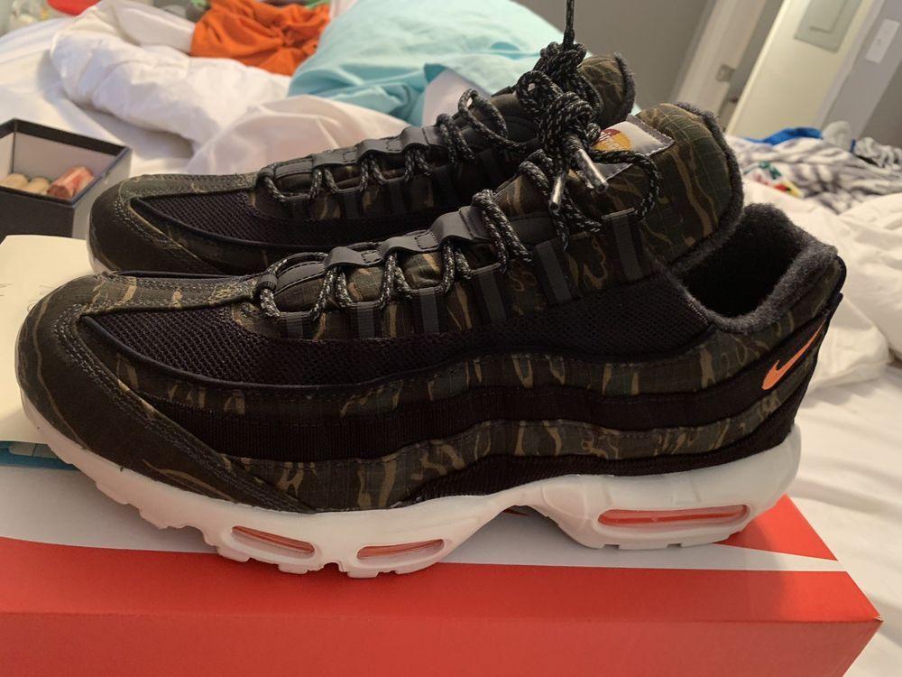 sports shoes b6946 e8ae2 New Men s Carhartt WIP x Nike Air Max 95 Camo AV3866-001 Size 12 RARE  Limited