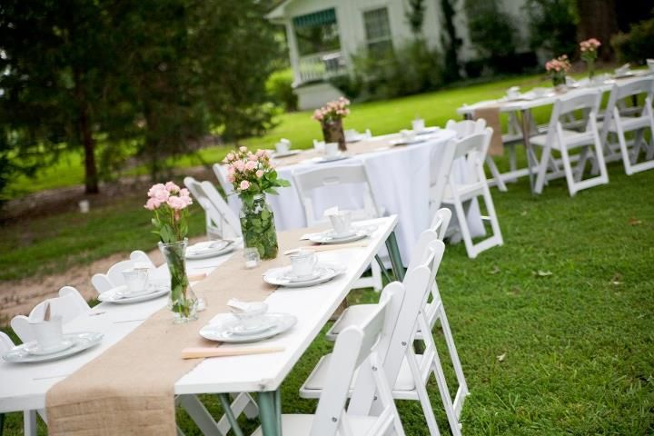 Old doors for tables - outdoor baby shower