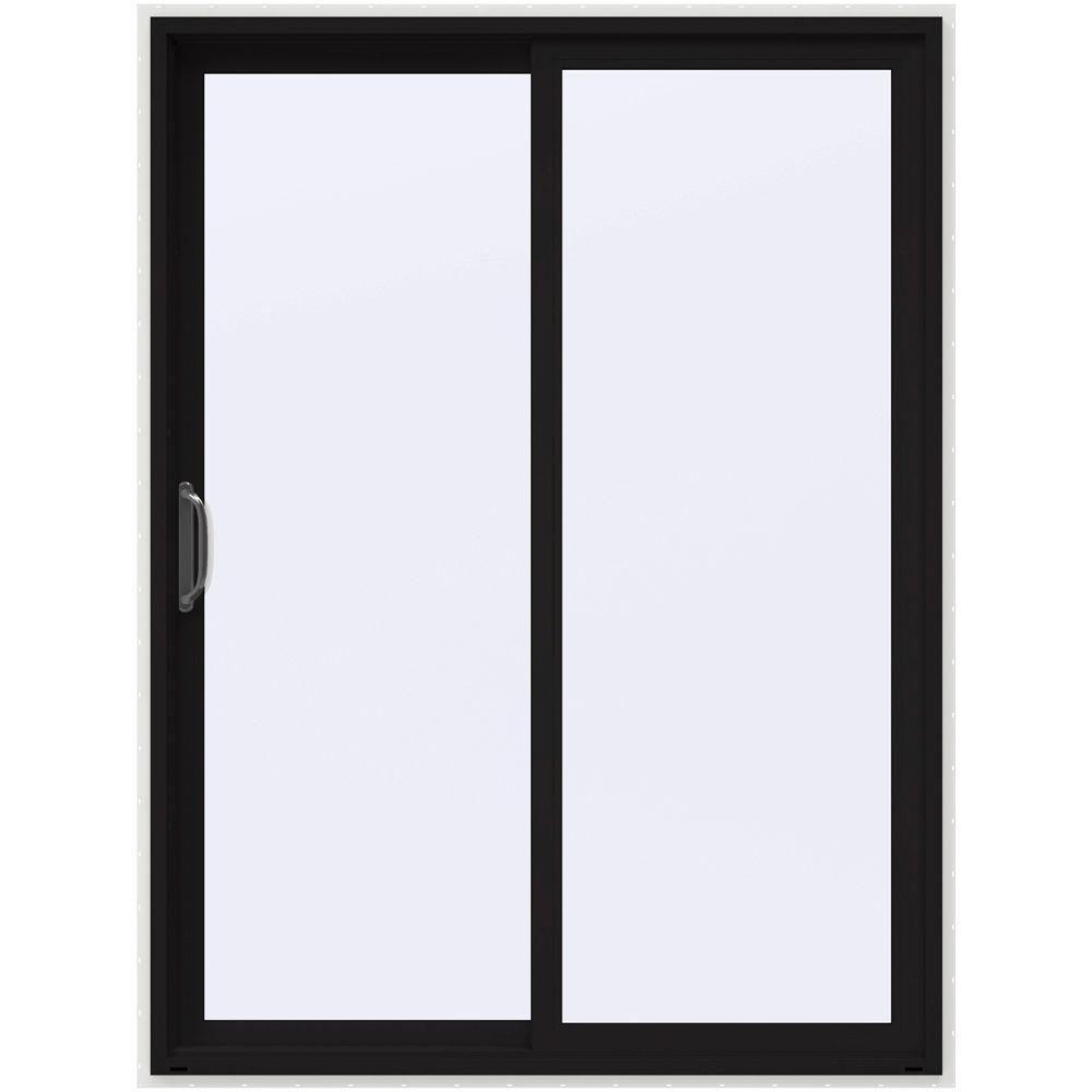 JELD-WEN 60 in. x 80 in. V-4500 Black Prehung Left-Hand Sliding 1-Lite Vinyl Patio Door with White Interior