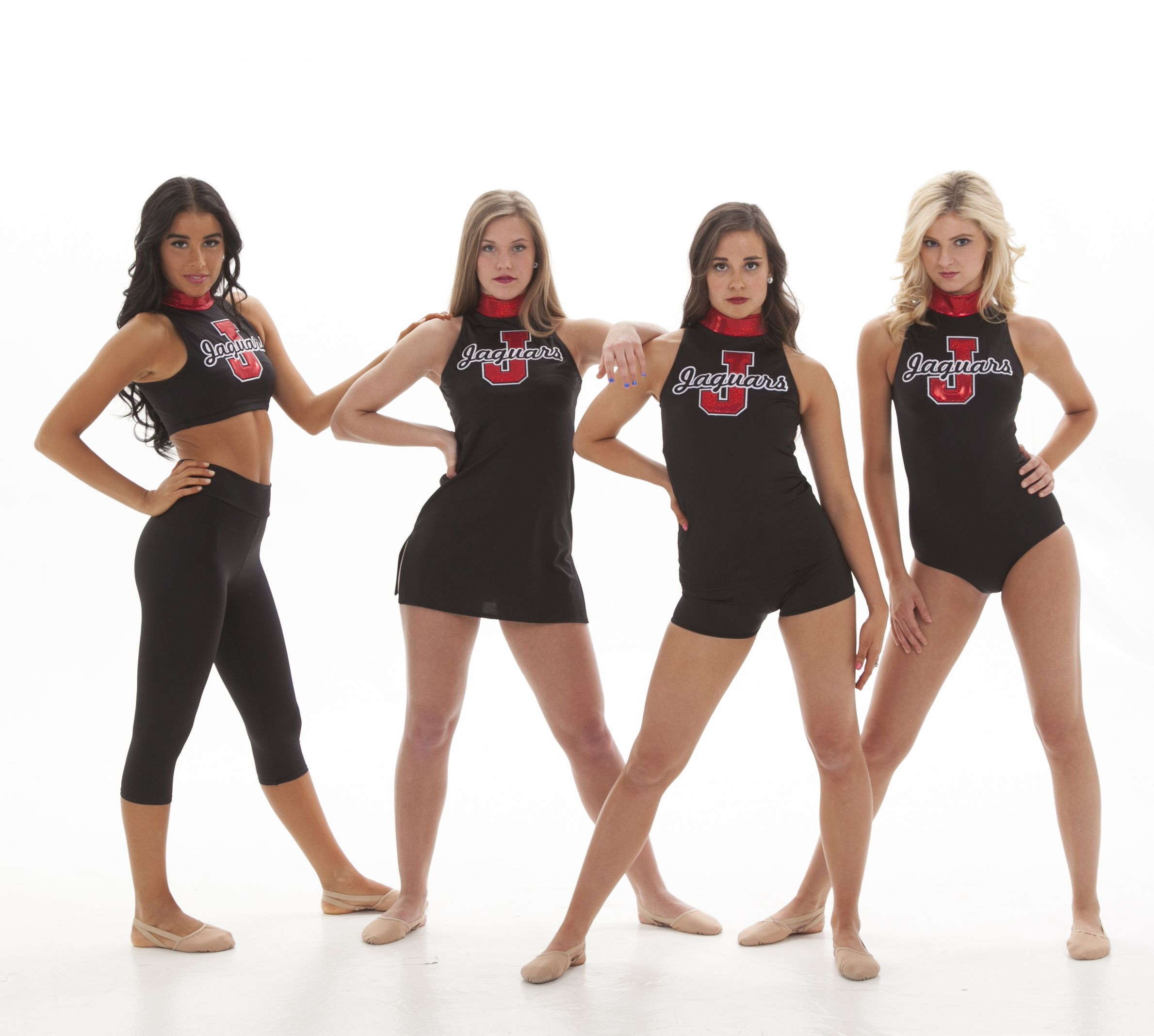 8c34b8460 Black Uniforms with red logo- dress, biketard, leotard and crop top- edgy  but classy. Perfect gameday uniforms for a highschool or college dance  team, ...
