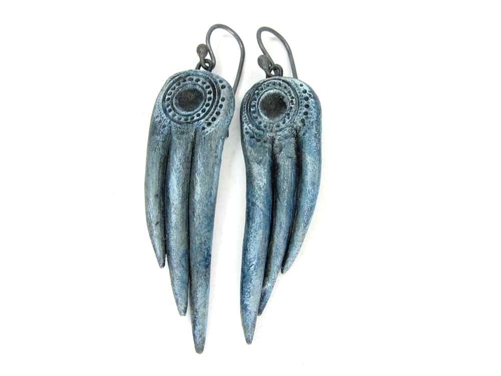 Silver Blue Demon Wing Earrings - Rustic Artisan Ceramic Earrings No. 203 - pinned by pin4etsy.com
