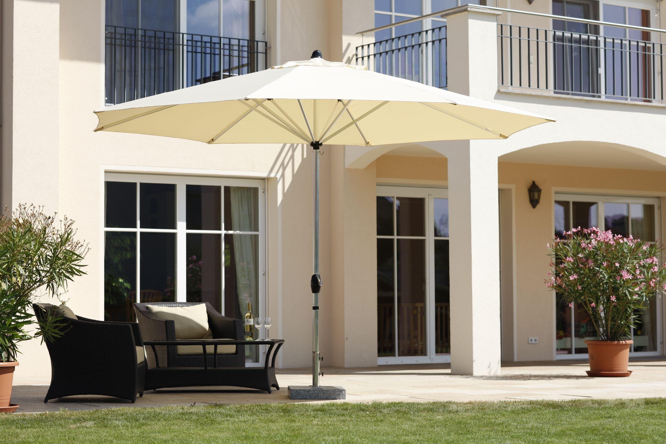 Schneider Sonnenschirm Florenz 400 Cm Rund Nature, Lifestyle Für ... Sonnenschirm Balkon Terrasse
