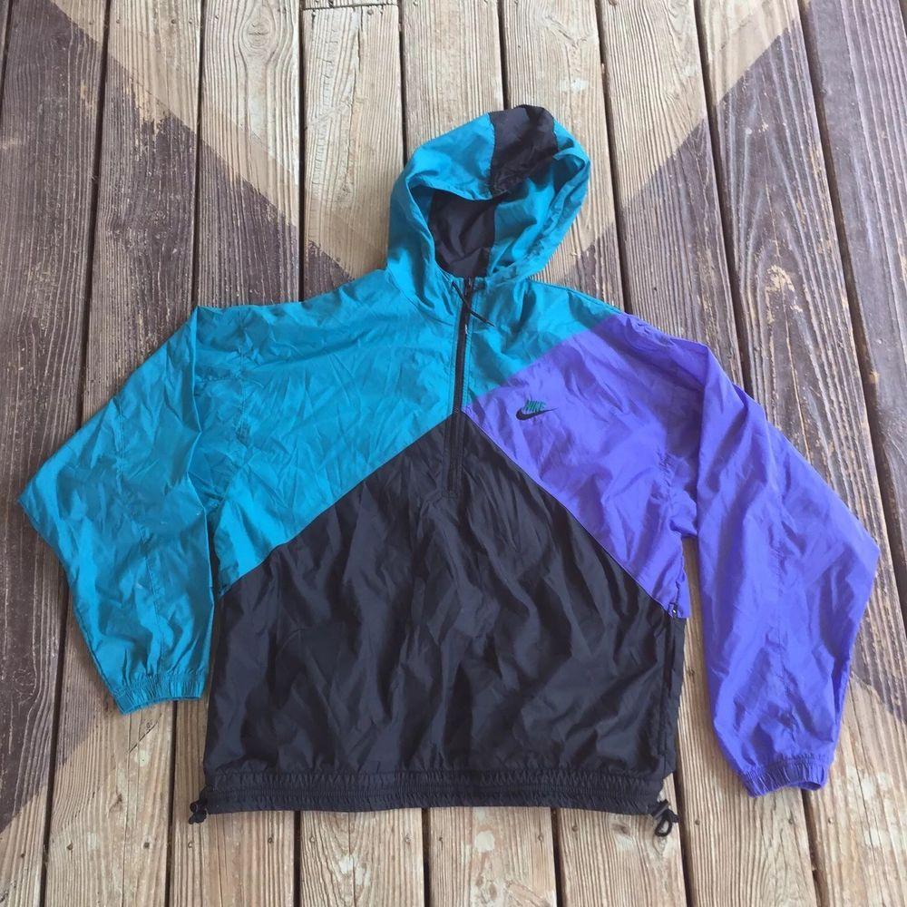 Details about Vintage Nike Black Pullover Windbreaker Jacket