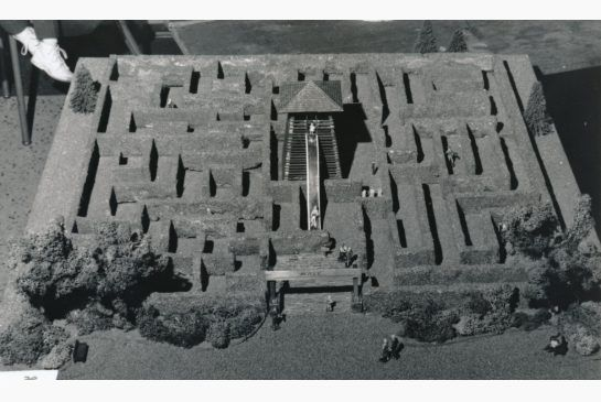 The original model of the Centre Island maze, designed by Peter Vanderwerf. His concept of a wooden tower at the centre with a slide whiskin...