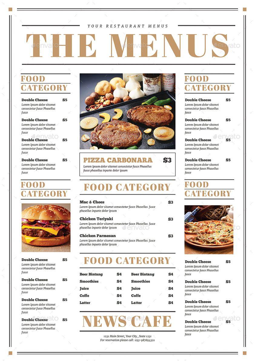 Newspaper Style Food Menus Dizajn Menyu
