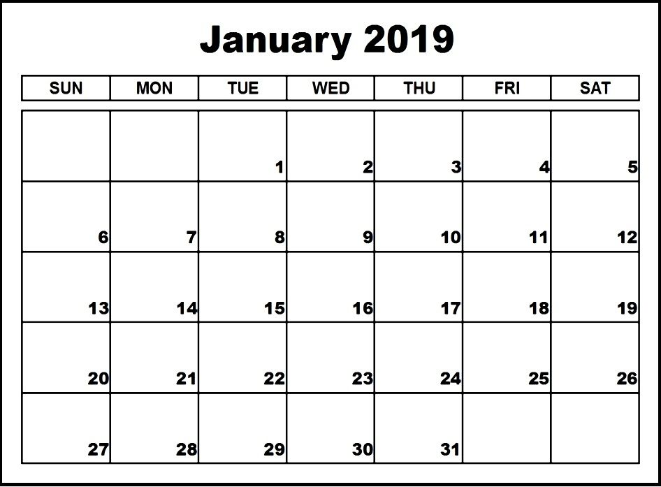 Print January 2019 Calendar Pdf Word Excel Portrait And Landscape