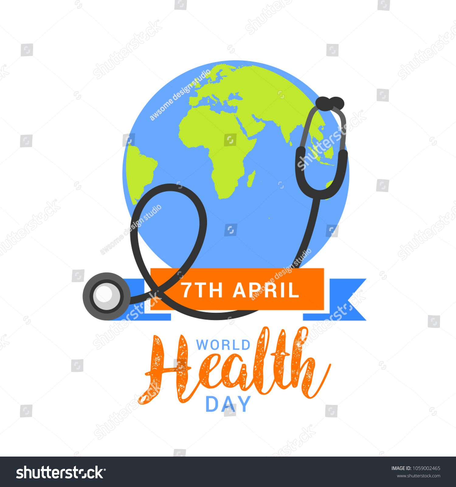Illustration of World health day concept text design with