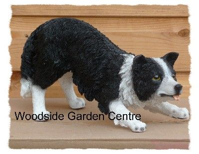 Resin Real Life Border Collie Sheepdog Ornament Woodside Garden