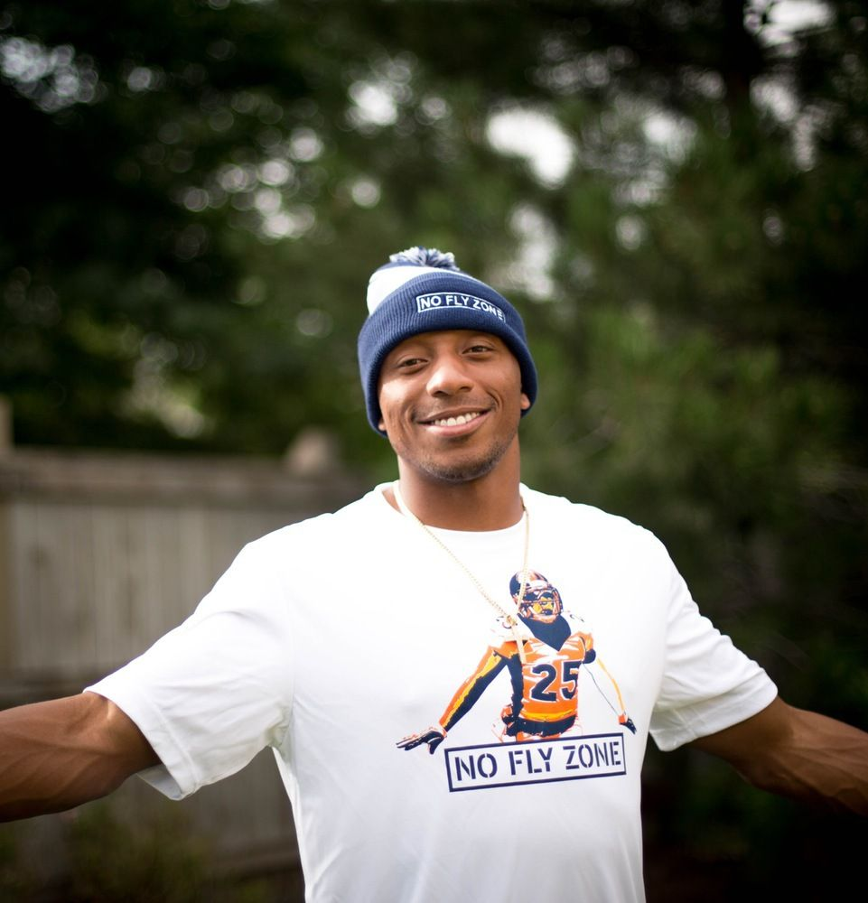 """Chris Harris Jr """"NO FLY ZONE"""" Navy Striped Knit Pom Beanie Hat"""