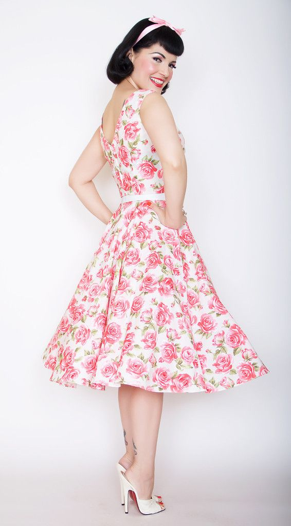 Saturday Night Pin Up Dress in Pink Rose Printhttp://berniedexter ...