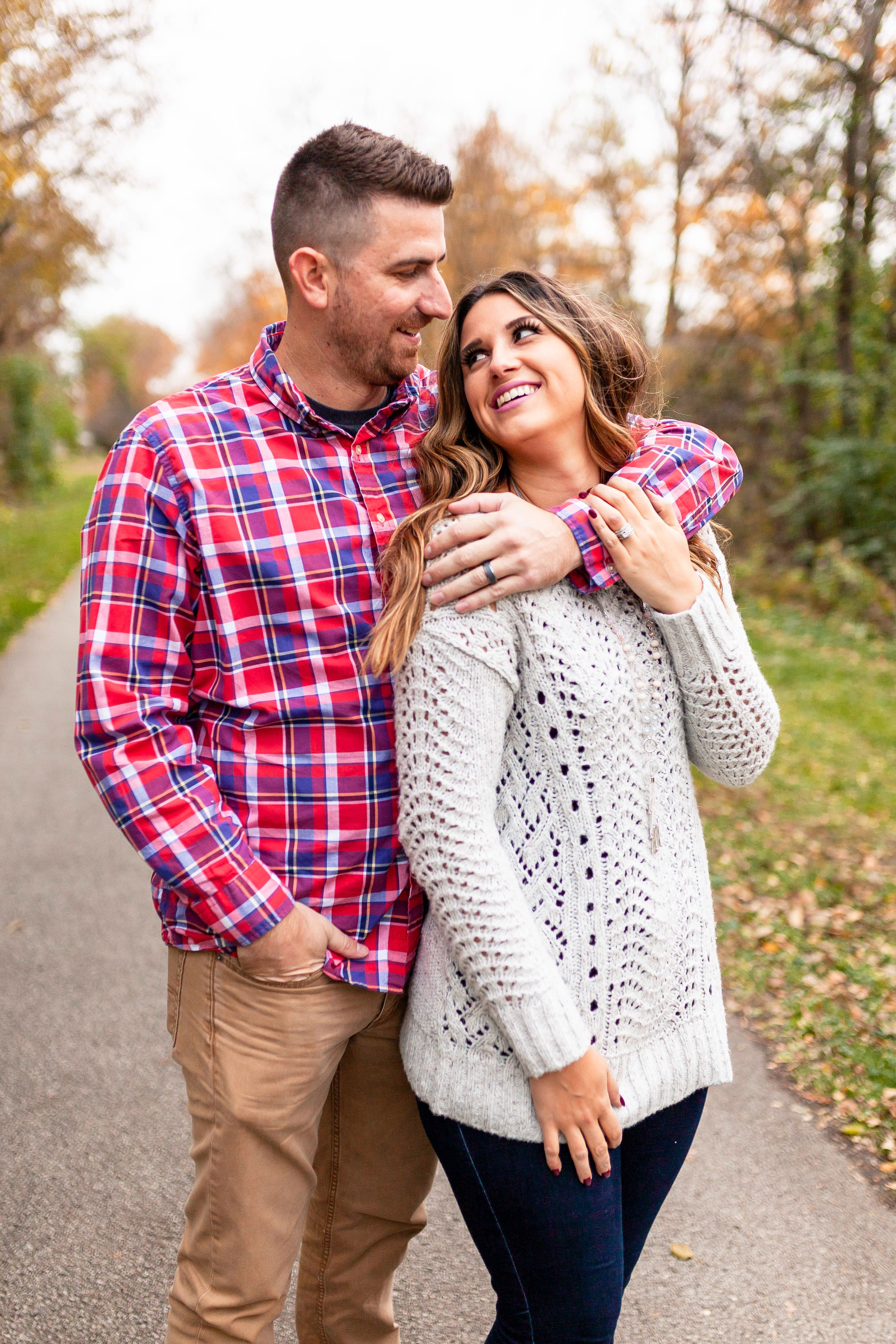 Fall engagement photosdowntown Frankfort Illinois