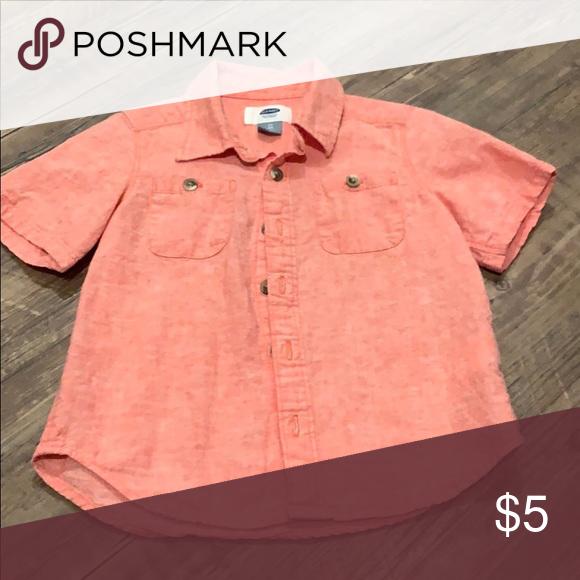 7e2c7b0314506 Toddler boy button down short sleeve old navy Salmon  pink colored button  down short sleeve