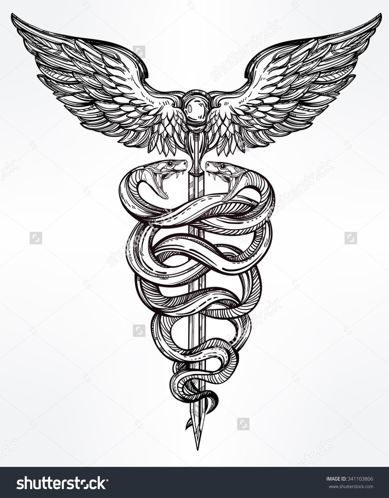 Caduceus symbol of god mercury highly detailed snakes wrapped caduceus symbol of god mercury highly detailed snakes wrapped around winged staff hand drawn vintage linear tattoo design dark romantic isolated vector buycottarizona Gallery