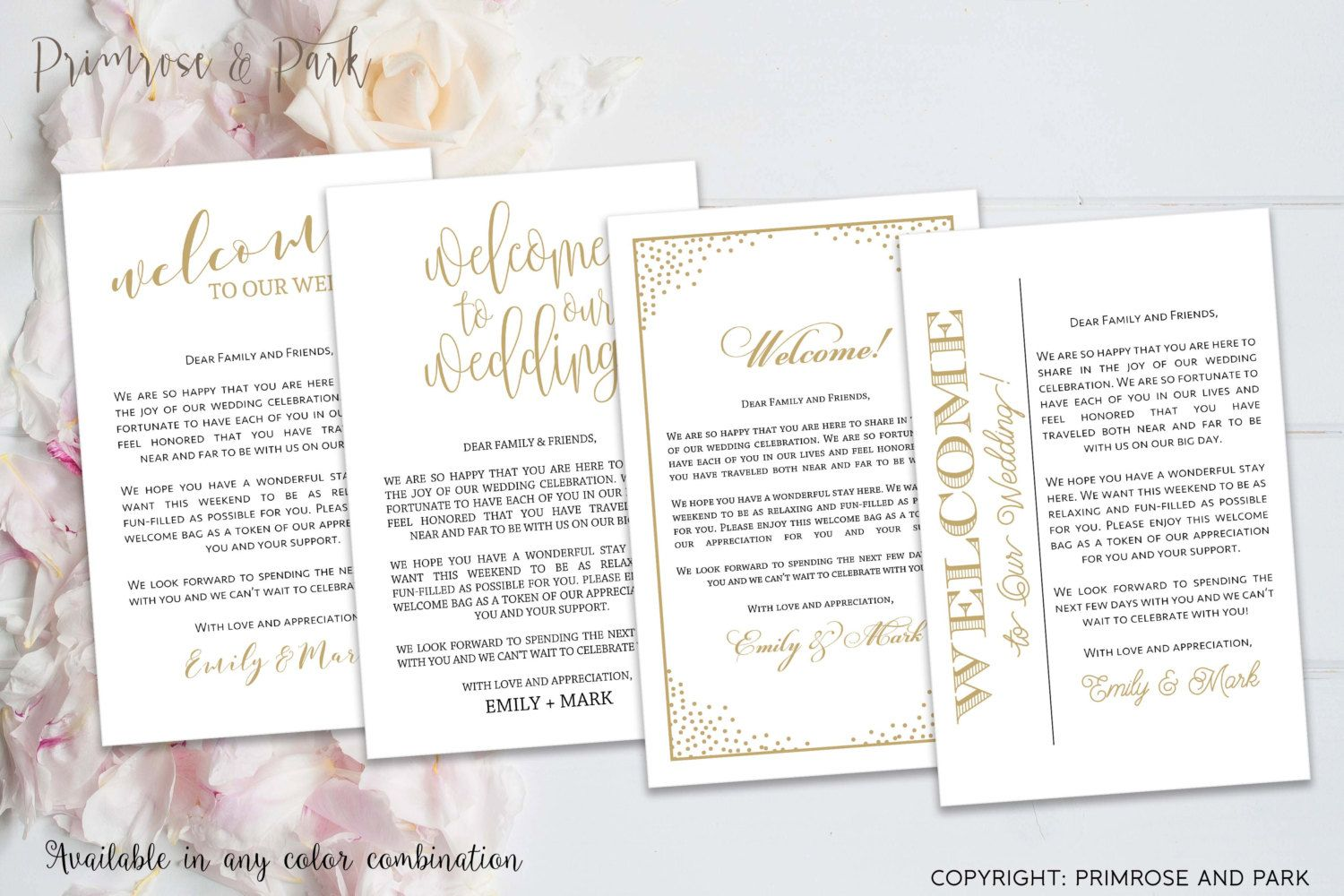 Wedding Welcome Letter Note Printable  Hotel Welcome Bags