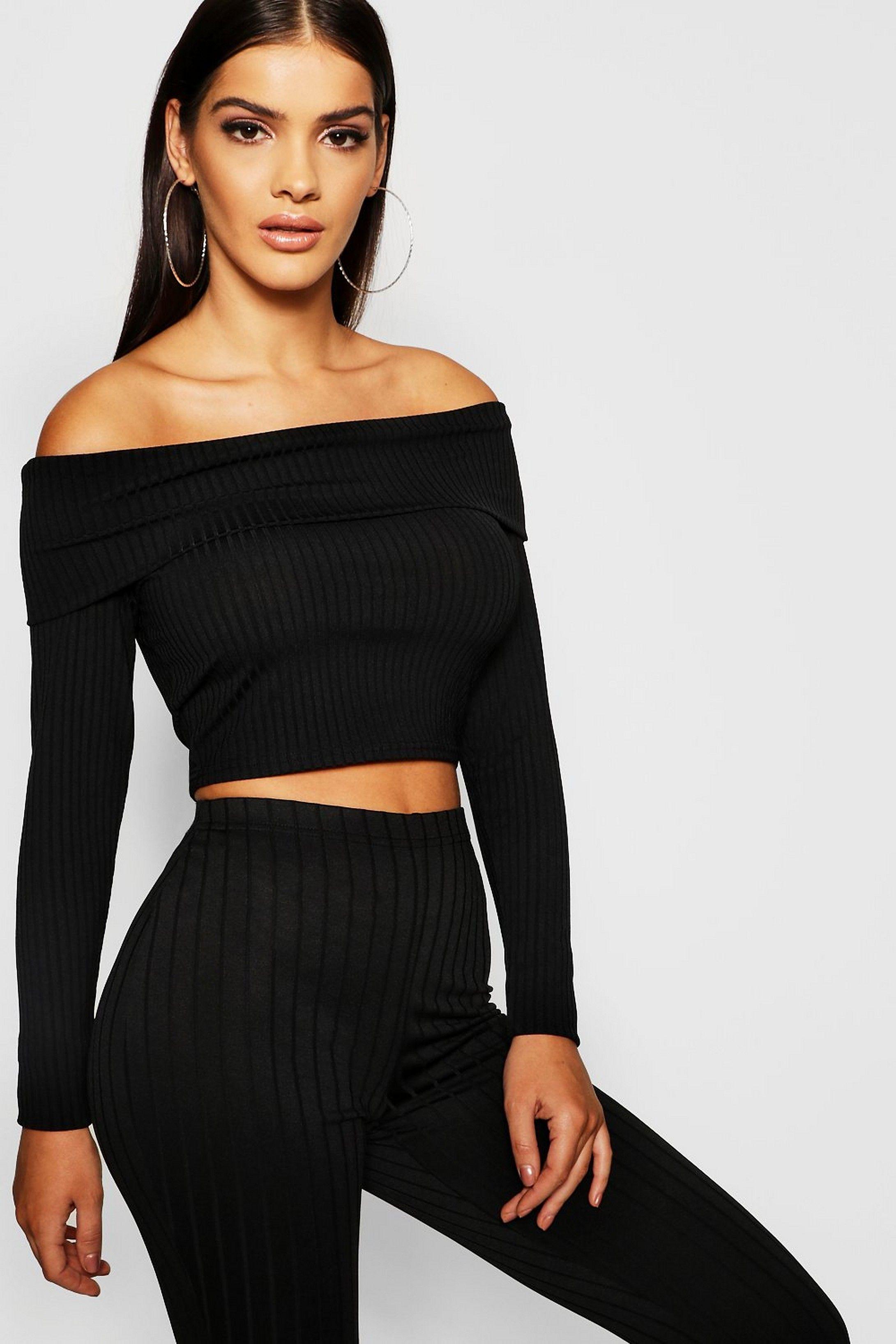 368d507204ac0 Long Sleeve Jumbo Rib Bardot Crop Top in 2019