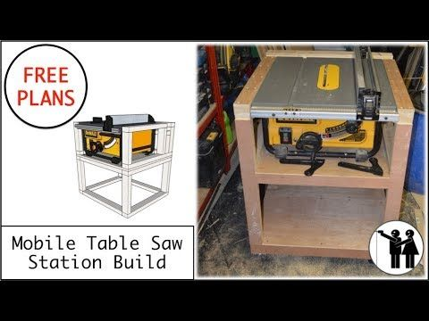 Mobile Table Saw Station Build For Dewalt Dw745 Free Plans Youtube Table Saw Station Table Saw Mobile Table