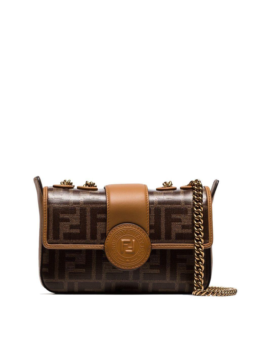 6a58b110345d Fendi brown FF logo leather camera bag