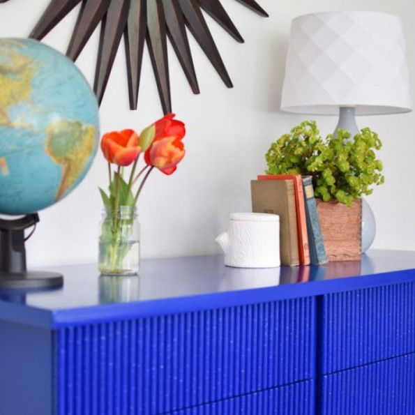 Blue Bamboo Mid Century Dresser Vibrant Klein Blue Energizes A Dull American Of Martinsville Credenza Into A Stateme With Images Mid Century Dresser Paint Finishes Crafts