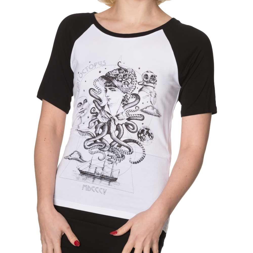 Banned Last Minute dames top met lady octopus print zwart/wit   Attitu
