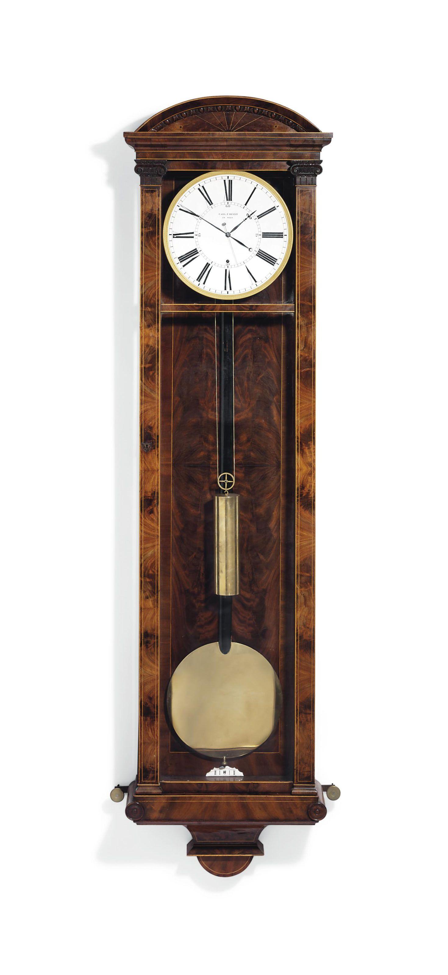 An Austrian Mahogany Year Going Regulator Wall Clock Carl F Heydt Vienna Circa 1840 Year Going Dachluhr Christie Wall Clock Clock Antique Wall Clock