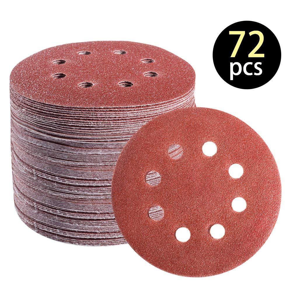 72 Pcs 5 Inch 8 Hole Hook And Loop Adhesive Sanding Discs Sandpaper For Random Orbital Sander 40 60 80 120 180 240 320 Grits For In 2020 Sanding Adhesive Sandpaper