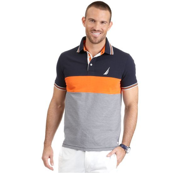 Color Block Striped Deck Polo Shirt