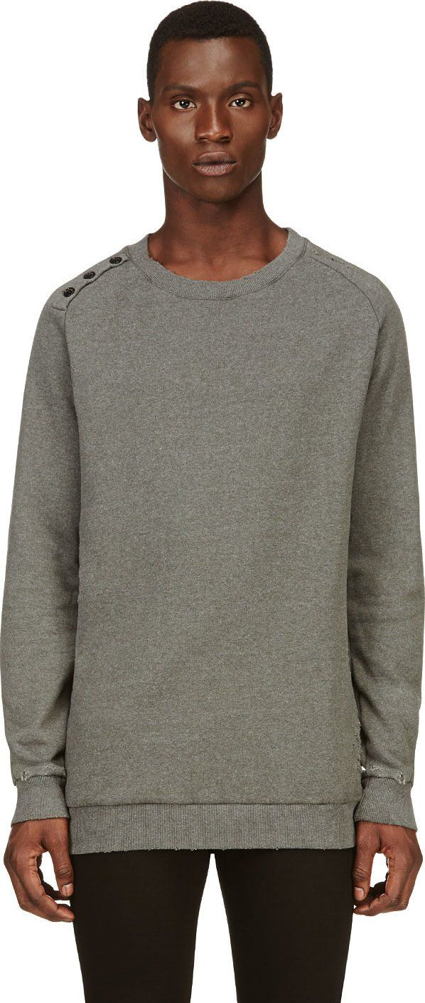 Pierre Balmain - Khaki Distressed Sweatshirt