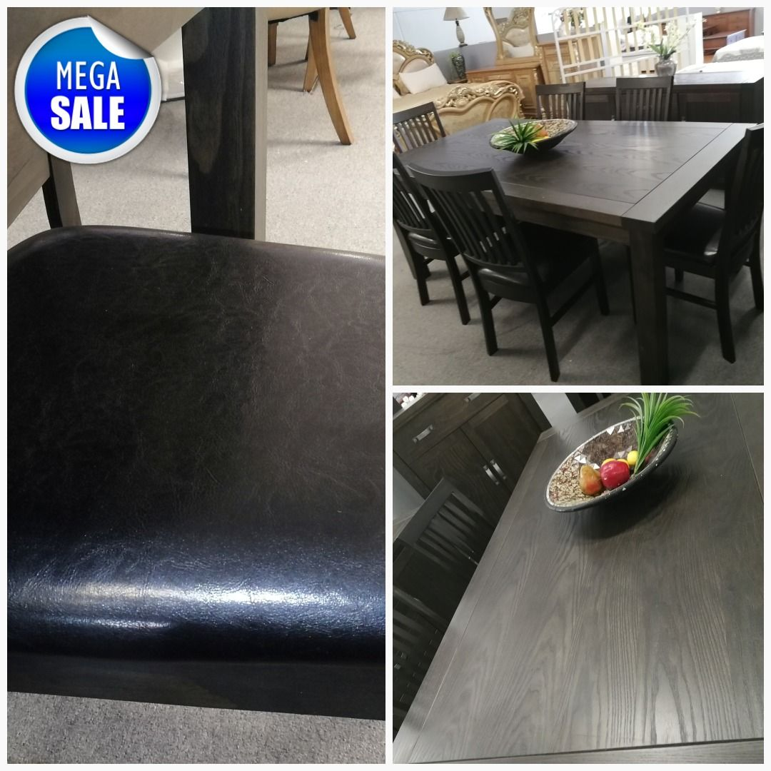 Asten Dark Color Dining Table With 6 Chairs Table Chair Modern