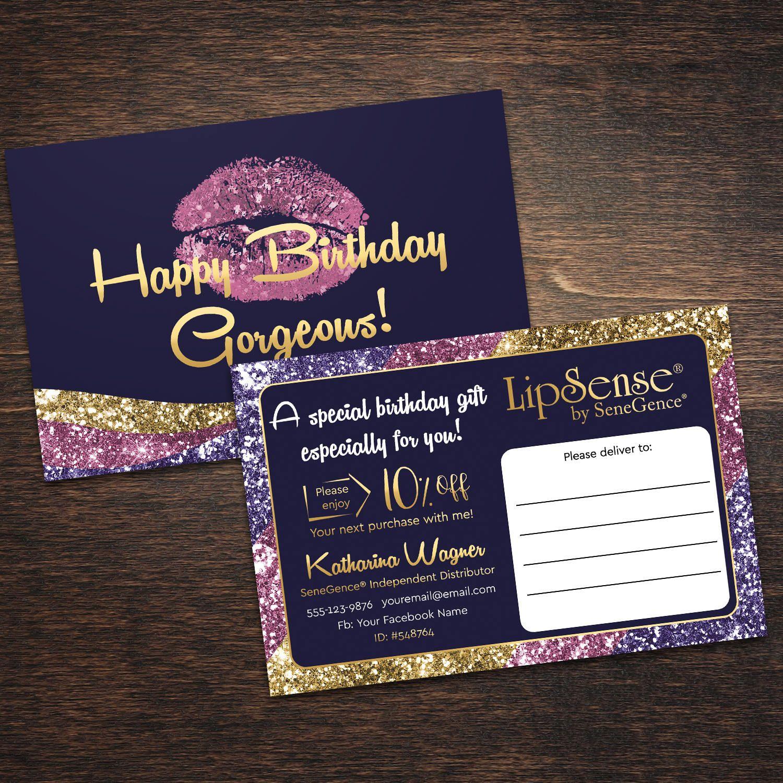 Lipsense Gift Card Lipsense Happy Birthday Card Lipsense Business