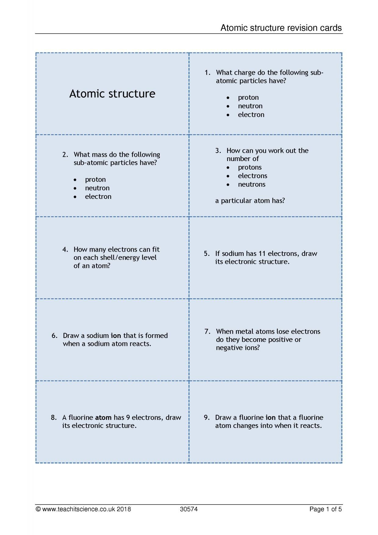 New Atomic Structure Review Worksheet