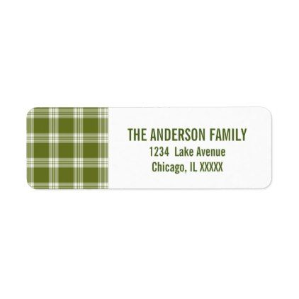 Green Tartan Plaid Christmas Address Labels - overlay template diy