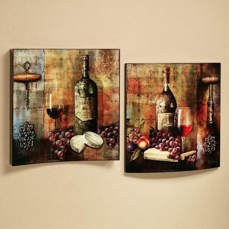 Vineyard Wine Tasting Wall Art Set Multi Jewel Set of Two