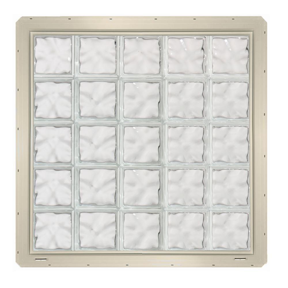 39.25 in. x 39.25 in. x 3.25 in. Wave Pattern Glass Block Window ...