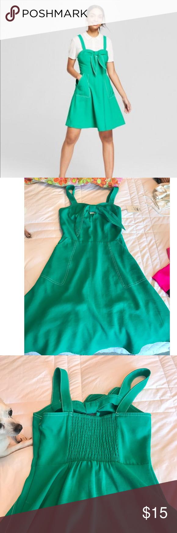 Target A New Day Green Dress Green Dress Dresses Tie Front Dress [ 1740 x 580 Pixel ]